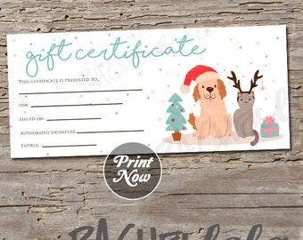 Printable Christmas Pet Gift Certificate template, Dog, Cat, Groomer thank you gift, Vet, Photography voucher card, Instant digital download