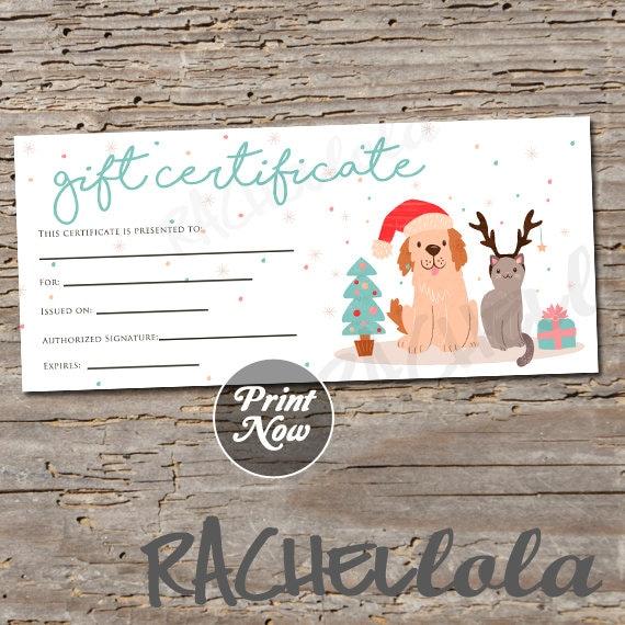 Christmas Pet Printable Gift Certificate Template Dog Cat Groomer