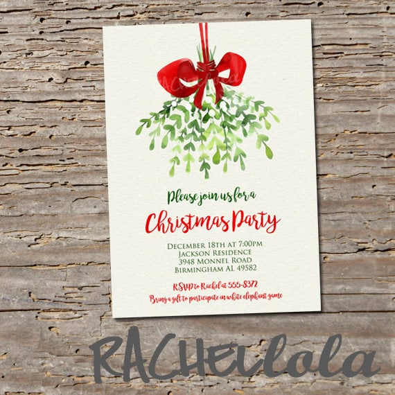 mistletoe printable christmas dinner party invitation holiday