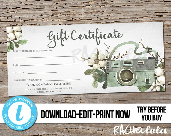 Editable Custom Printable Gift Certificate Template Cotton Etsy