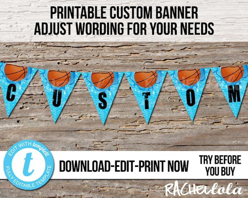 Editable Basketball Pool Party Birthday Banner, Printable template, Swim,  Splash, Garland, Flag, Bunting, Digital instant download Templett