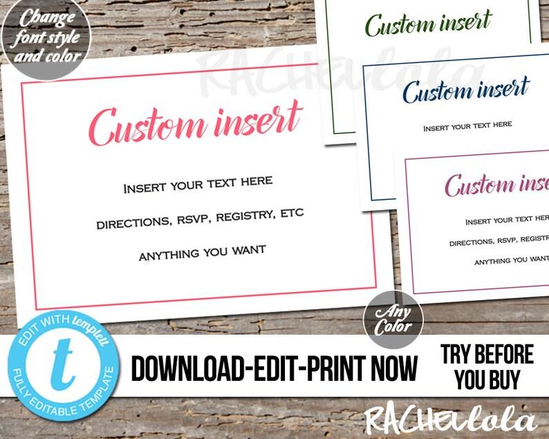 Editable Custom Invitation Insert Simple Printable Template