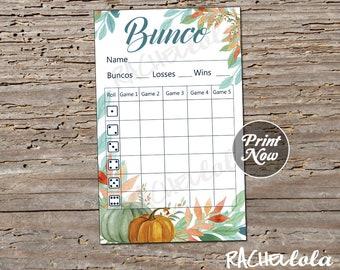 Fall, Thanksgiving, Halloween Bunco score card, Pumpkin score sheet, bunko party, scorecard, printable template, instant digital download