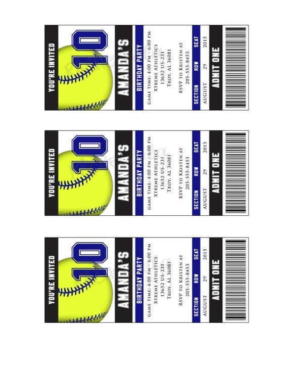 Ticket-Softball Softball-Geburtstags-Einladung Ende der