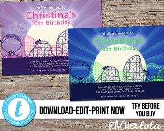 Editable Roller coaster birthday party invitation, Amusement Park, Printable template, Theme park, Boy, Girl, Digital download, Templett