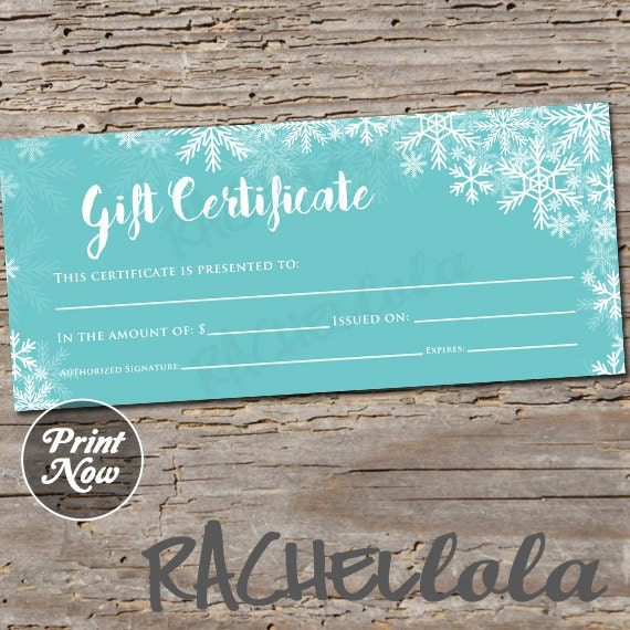 winter blue snow printable gift certificate template etsy