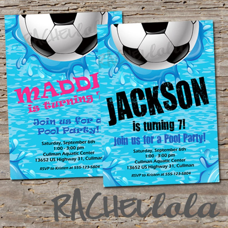 Soccer Pool Party Birthday Invitation Printable Template