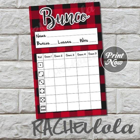 Bunco Score Sheets Template | Red Buffalo Plaid Bunco Score Card Score Sheet Christmas Bunko