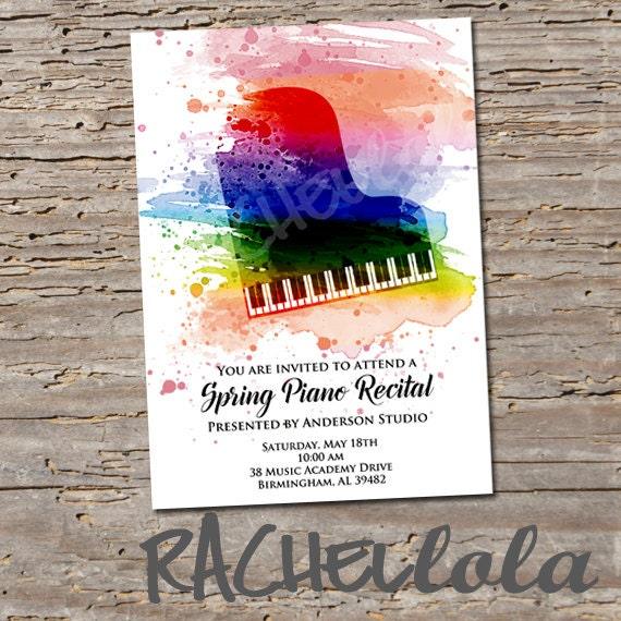 Piano Recital Invitation Printable Template Colorful College