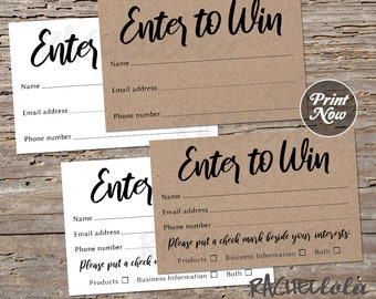 Kraft Raffle ticket template, Printable enter to win, Entry form, Rustic Door prize giveaway, Essential oil, Event, Party, Business, Instant