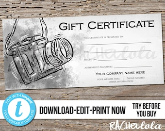 Editable Custom Printable Photography Gift Certificate template, Photo session voucher card, Camera, Photographer, Instant download Templett