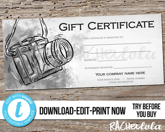 Editable Custom Printable Photography Gift Certificate Template