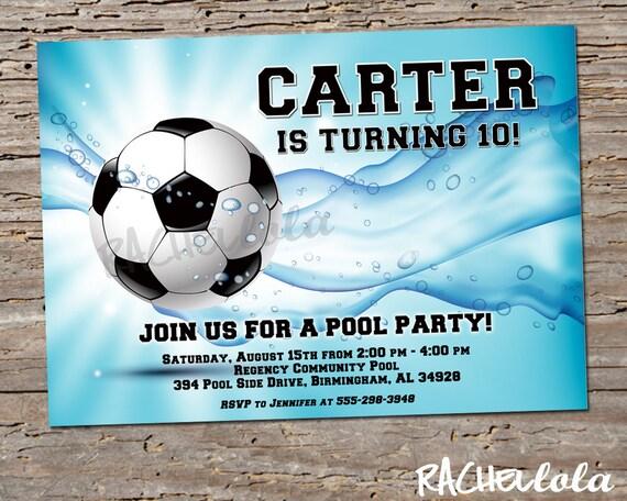 soccer pool party birthday invitation printable template swim
