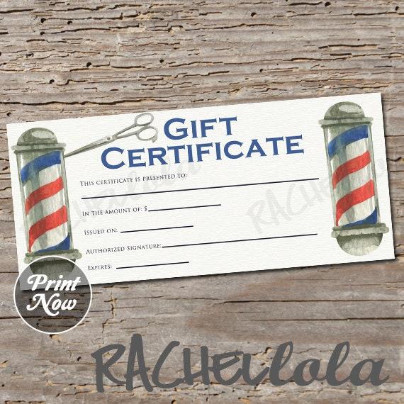 Barber Shop Pole Printable Gift Certificate Template Hair Salon