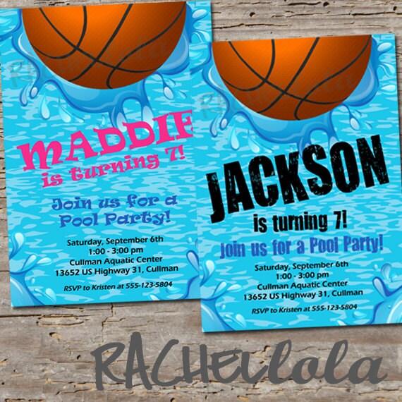 basketball pool party birthday invitation printable template swim