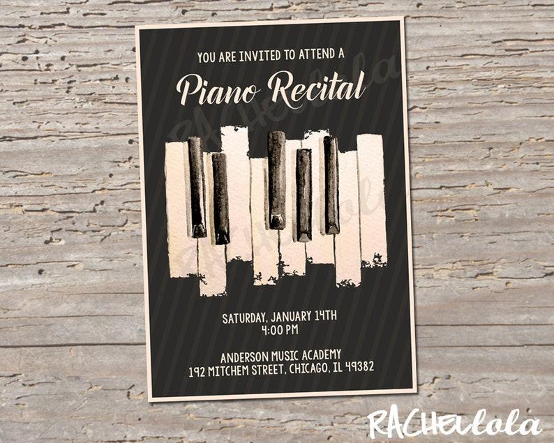 Printable Piano Recital Invitation Template Music Concert Etsy