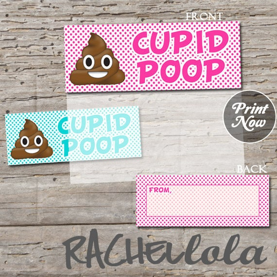 Cupid Poop Emoji Valentine S Day Card For Kids Printable Favor Bag