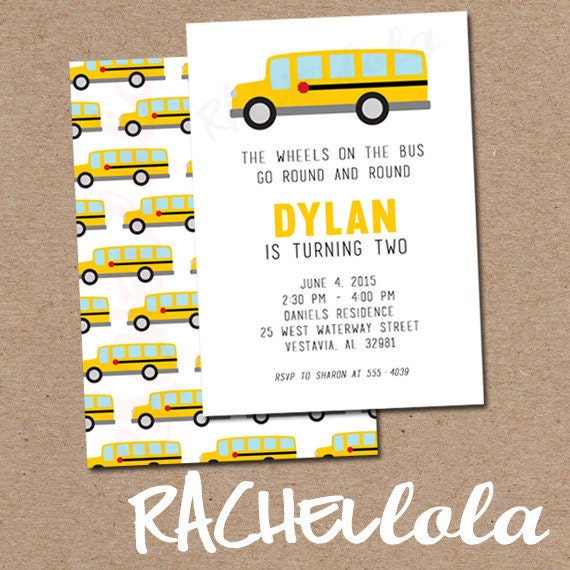 Wheels On The Bus Party School Bus Birthday Party Printable