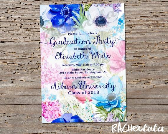 Blue Floral Graduation Invitation Printable Template Girl College