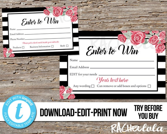 Editable Raffle ticket template, Printable door prize entry