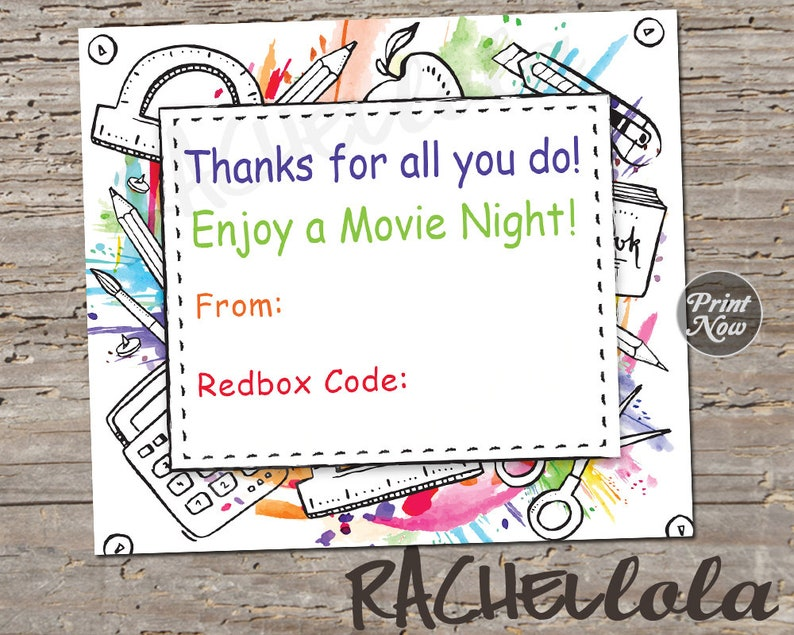 photograph relating to Redbox Teacher Appreciation Printable identified as Instructor appreciation Redbox Code, Printable Thank on your own card template, Close of 12 months video Reward tag, Low-cost, Straightforward, Xmas, Instantaneous obtain