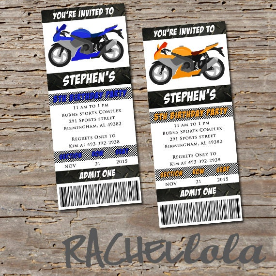 Motorcycle Ticket Birthday Party Invitation Printable Template