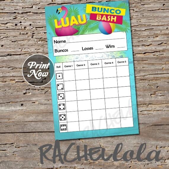 Strange Luau Bunco Bash Scorecard Score Sheet Bunko Party Pool Download Free Architecture Designs Scobabritishbridgeorg