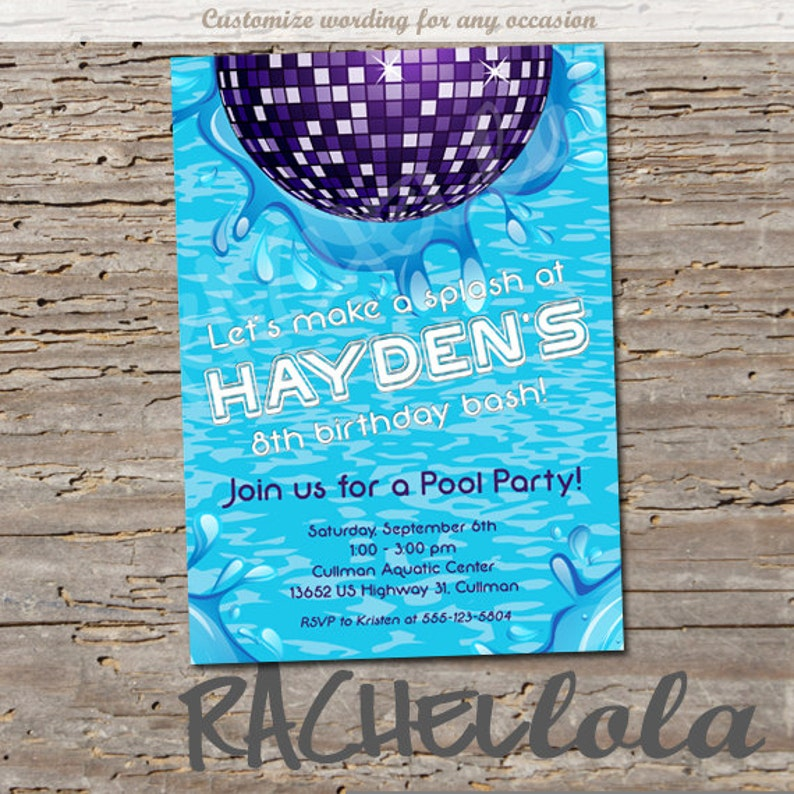 Disco Pool Birthday Party Invitation Printable Template Swim