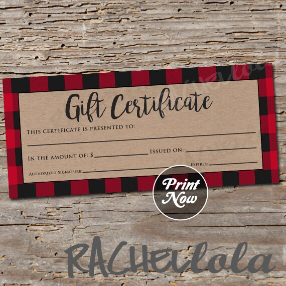 Red Buffalo Plaid Printable Gift Certificate Template Christmas