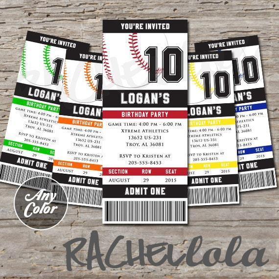 Baseball Ticket 1st Birthday Party Invitation Printable