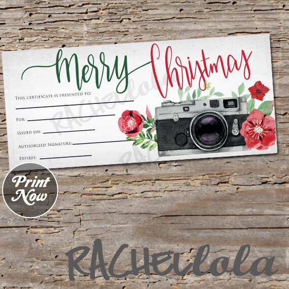 christmas camera  printable gift certificate template