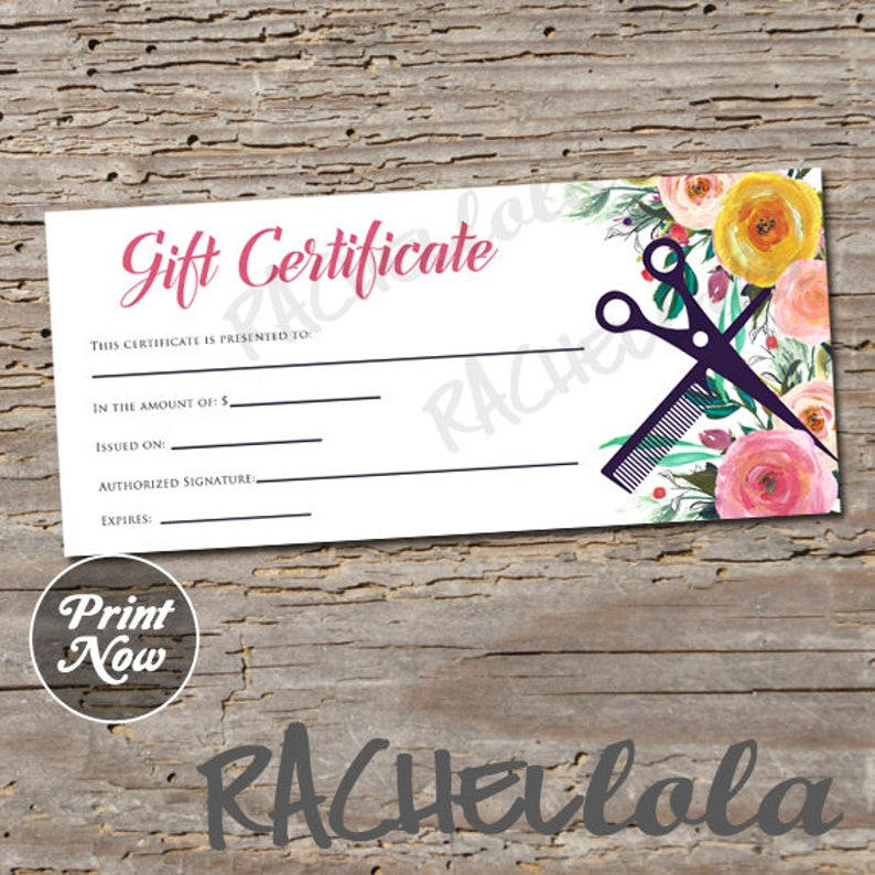 Hair Salon Watercolor Floral Printable Gift Certificate Etsy