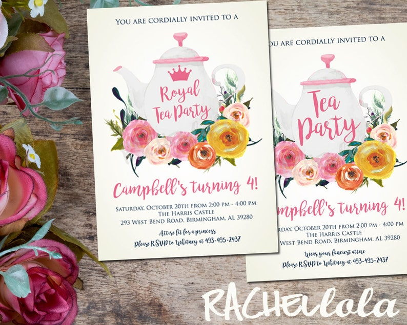 Floral Watercolor Tea Party Birthday Printable Invitation Etsy