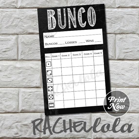 Chalkboard bunco score card winter score sheet spring bunko | Etsy