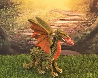 Miniature Dragon Figurine, Fire Breathing Dragon, Fantasy, Miniature Garden Addition, Fairy Tale
