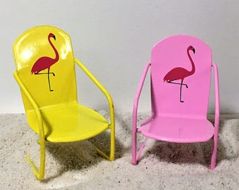 Miniature Flamingo Chair Pink Chairy Yellow Chair with Flamingos Fairy Accessories & Chairy chair | Etsy