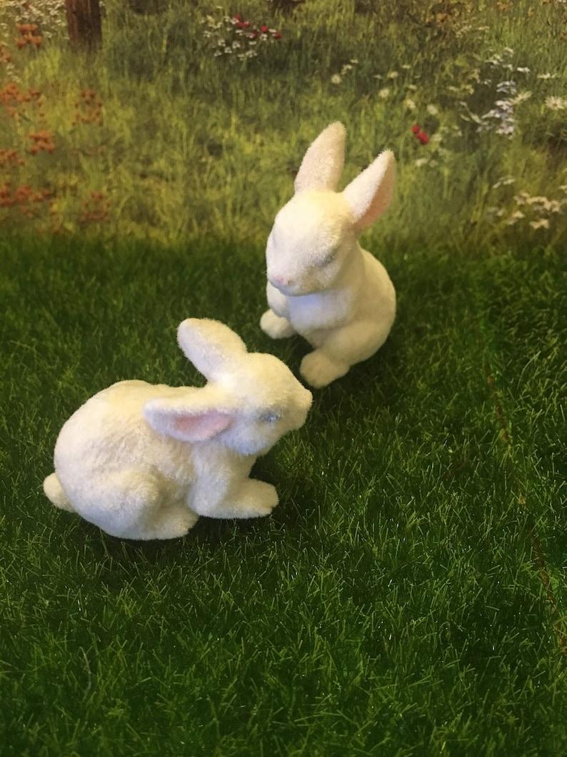 Miniature Dollhouse FAIRY GARDEN Accessories ~ Pair of White Rabbits ~ NEW