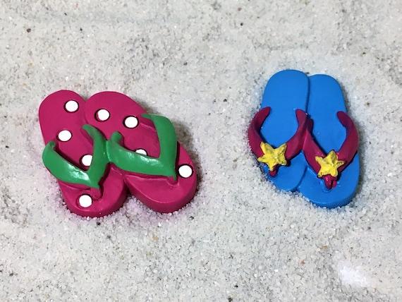Miniature Dollhouse FAIRY GARDEN ~ Seaside Beach Blue Flip Flops ~ NEW