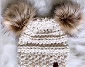 Double Pom Hat Fur Pom Hat Double Fur Pom Beanie Ivory Cream Hat