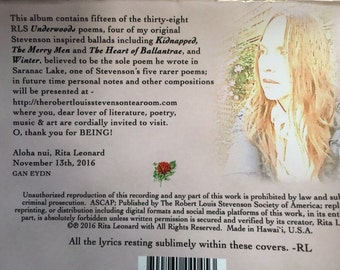 Outlander Music Skye song RLS poems included Stevenson's words inside, this cd is the perfect Christmas stocking stuffer!