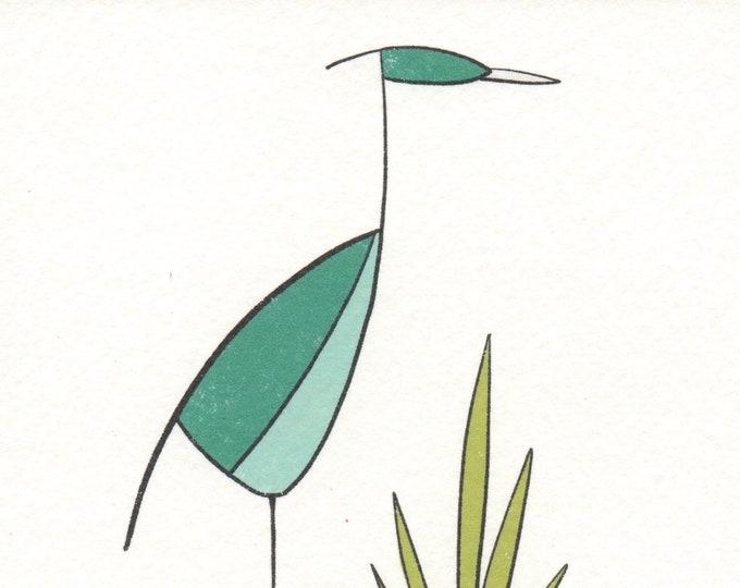 Small Blue Heron Print. 5x5
