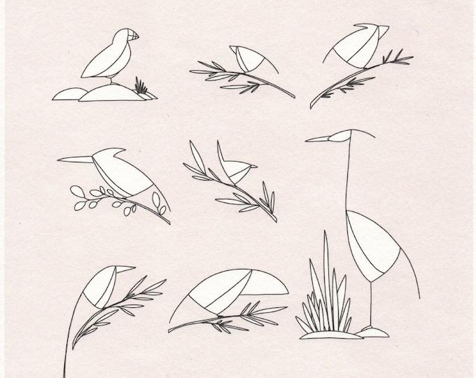 Birds Print. 8x8 or 11x11. Square. Wall art. Animal print.
