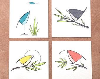 Bird Mini Series Print. Set of 4 prints, 5x5 inches.