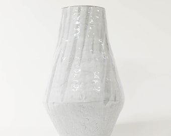 61. Large White Hand Built Vase. 18 inches tall.
