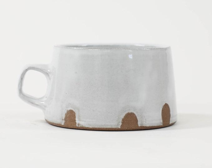 38. White Wide Bottom Dip Mug. One finger handle. 10oz.