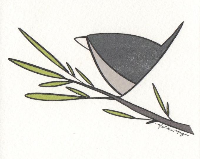 Small Grey Bird Print. 5x5