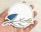Blue Moon Bird STICKER. 4 inches. Teal bird with big full moon. Melissa Maya. Weatherproof vinyl sticker.