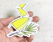Yellow Bird Stack MAGNET. 4 inches. Melissa Maya. Weatherproof vinyl magnet.