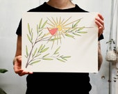 Radiant Bird Print. White or light brown kraft paper. 8x10 inches or 11x14 inches.