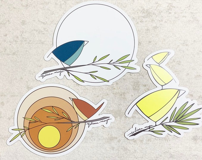 Set of 3 Bird MAGNETS. 4 inches. Red, blue, yellow.  Sun, moon. Melissa Maya. Weatherproof vinyl magnets.